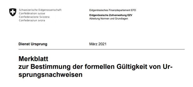 Aktualisierung EZV Merkblatt f. formal richtige Ursprungsnachweise