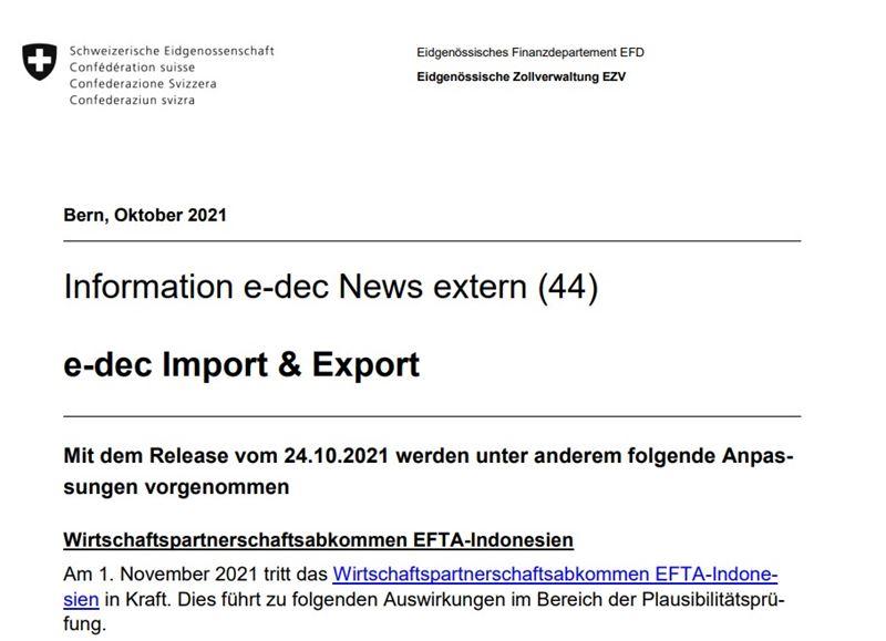 Start Freihandel mit Indonesien - wichtige Anpassungen im e-dec!
