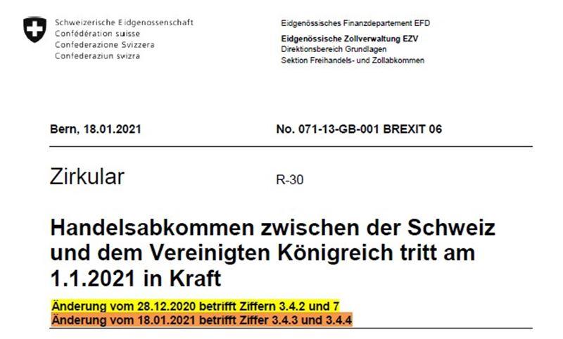 Update Freihandel Schweiz-UK - Anpassungen bei der Kumulation mit EU- oder Waren aus dem PEM Abkommen!